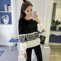 Glen Glam - Lace Panel Sweatshirt