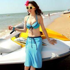 Rachel Swimwear - Striped Bikini with Pencil Midiskirt