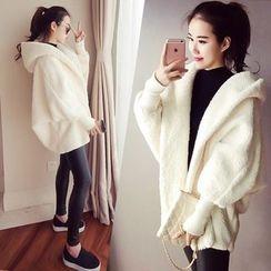Ashlee - Plain Fleece Hooded Coat
