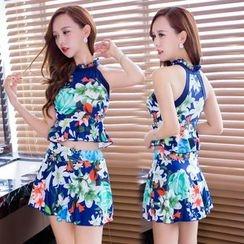 Blue Lagoon - Set: Floral Swim Top + Swim Skirt