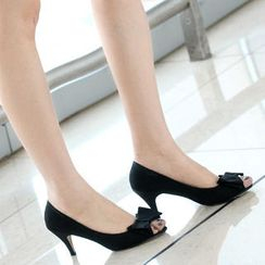 59th Street - Bow-Accent Open-Toe Heels