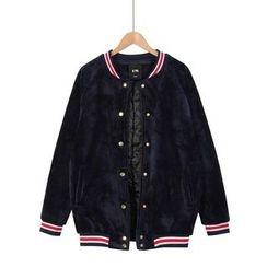 Momewear - Padded Striped Trim Jacket