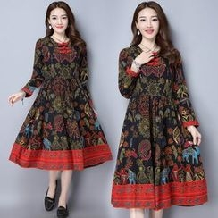 Diosa - Print Long-Sleeve Linen Cotton Dress