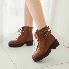 YOUIN - Chunky-Heel Platform Studded Buckled Ankle Boots