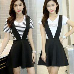 Oaksa - Set: Short-Sleeve T-Shirt + A-Line Suspender Skirt