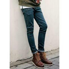 JOGUNSHOP - Drawstring-Waist Slim-Fit Jeans