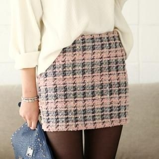 COOLHADA - Wool-Blend Tweed Pencil Skirt