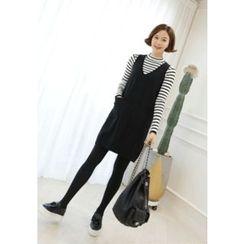 Lemite - Set: Stripe Knit Top + V-Neck Sleeveless Dress