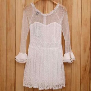 Ando Store - Bell-Sleeve Mesh-Panel Lace A-Line Dress