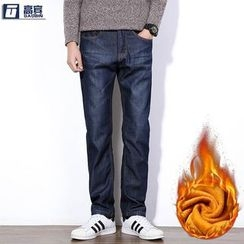 AOBIN - Fleece Lined Straight-Cut Jeans