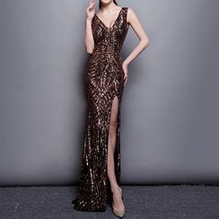 Posh Bride - Sequined Sleeveless Sheath Evening Gown