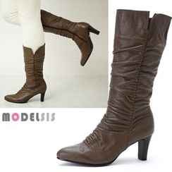 MODELSIS - Genuine Leather Shirred Long Boots