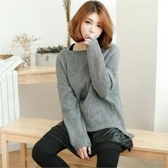 GLAM12 - Wool Blend Ribbed Knit Sweater
