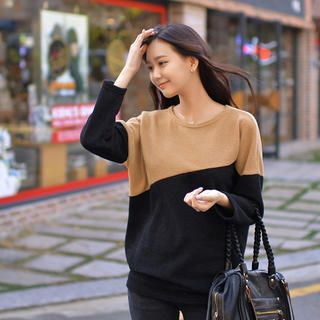 CLICK - Color-Block Drop-Shoulder Knit Sweater