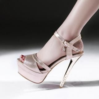 JY Shoes - Ankle Strap Platform Stiletto Sandals