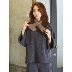 LOLOten - Set: Wide-Sleeve Knit Top + Wide-Leg Knit Pants