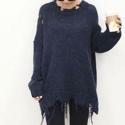 DANI LOVE - Drop-Shoulder Distressed Rib-Knit Sweater