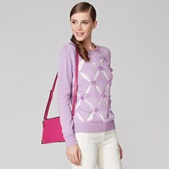 O.SA - Perforated Corsage-Accent Knit Top