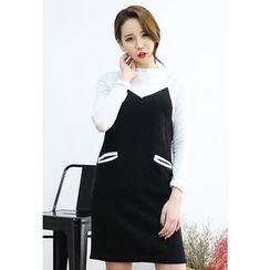 Dalkong - Piped Mini Knit Pinafore Dress