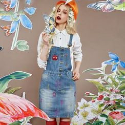 ELF SACK - Embroidered Denim Jumper Skirt