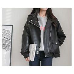 demavie - Diagonal-Zip Biker Jacket