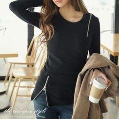 REDOPIN - Zipper-Accent T-Shirt