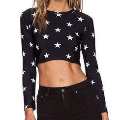 Obel - Star Print Cropped T-Shirt