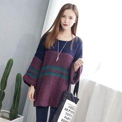 ZIZI - Color Block Chunky Long Sweater