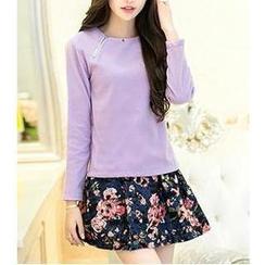 Sienne - Set: Long Sleeved Knit Top + Crochet Skirt