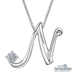 Leo Diamond - Initial Love 18K White Gold Diamond Pendant Necklace (16') - 'N'