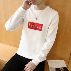 Bay Go Mall - Lettering Applique Pullover