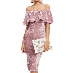 Dream a Dream - Short-Sleeve Off Shoulder Ruffle Sheath Dress