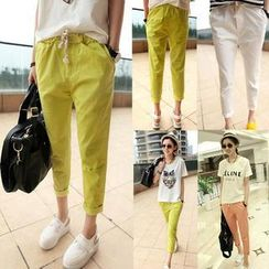 QZ Lady - Drawstring Cropped Tapered Pants