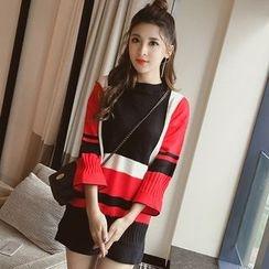 Cherry Dress - Color Block Knit Dress