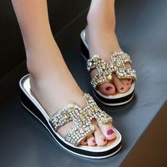 Romantina - Wedge Rhinestone Slide Sandals