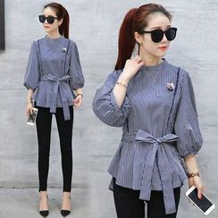 Ekim - Striped 3/4 Sleeve Peplum Top