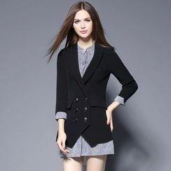 巧妮兒 - 雙排扣假兩件西裝外套