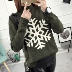 anzoveve - Snowflake Mock Neck Sweater