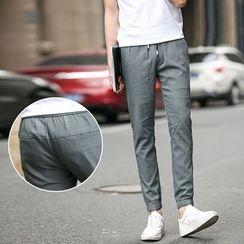 Elkelake - Cropped Drawstring Pants