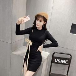 RUI - Long-Sleeve Slit Sheath Dress