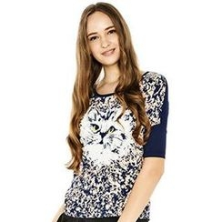 O.SA - Batwing Short-Sleeve Cat-Print Top