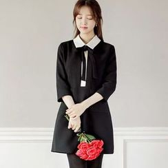 EFO - 3/4-Sleeve Contrast-Color Dress