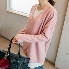 JOAMOM - Drop-Shoulder Long T-Shirt