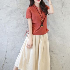Diosa - Set : Linen Cotton Short-Sleeve Top + Skirt