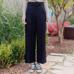 chuu - Belted Wide-Leg Dress Pants