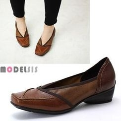MODELSIS - Genuine Leather Square-Toe Pumps