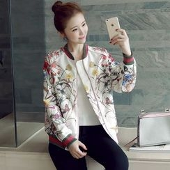 Munai - Printed Zip Baseball Jacket