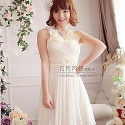 Luxury Style - One-Shoulder Rosette A-Line Party Dress