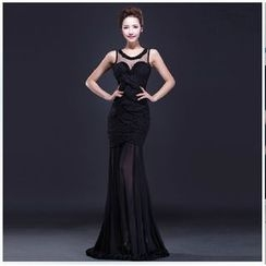 Posh Bride - Sleeveless Mesh Panel Sheath Evening Gown