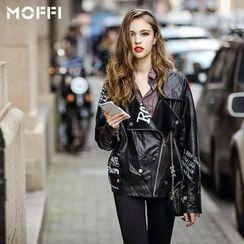 MOFFI - 字母仿皮机车外套